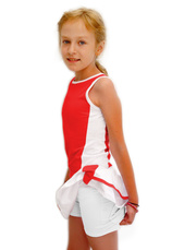 Tiffany Kids® Set Tenis Fusta cu maieu Alb-Rosu