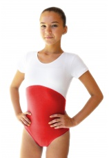 Body gimnastica & dans Spandex Alb-Rosu 1101